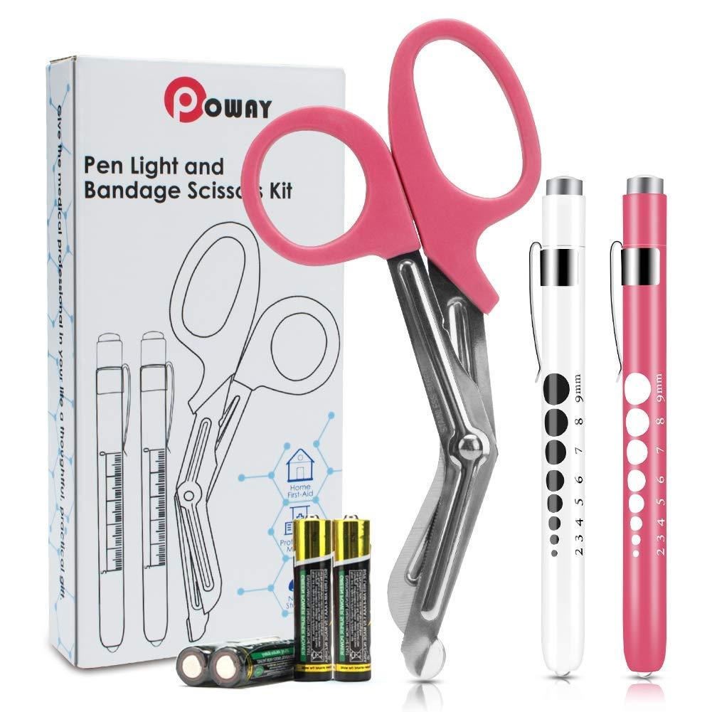 Krankenschwester Penlight LED Medical Penlight mit Batterien und Rosa Verbandschere
