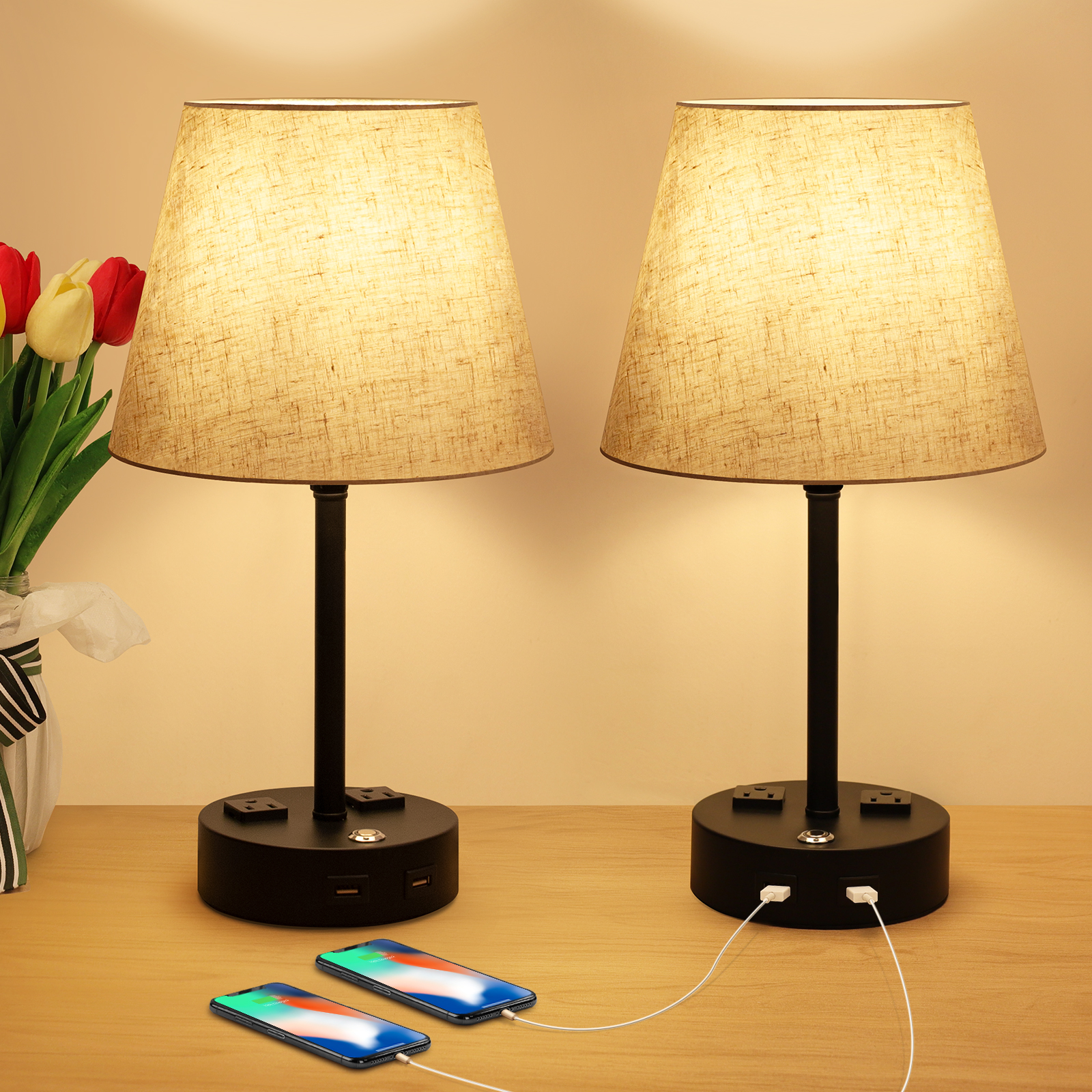 Bedroom Lamps, USB Nightstand Lamp, Dimmable Bedside Lamps Set Of 2